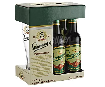 Staropramen Cerveza rubia lager checa Pack 4 x 33 cl