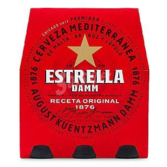 Estrella Damm Cerveza rubia nacional Pack 6 botellines x 25 cl