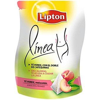 Lipton Línea té verde con melocotón 20 bolsitas Paquete 46 g