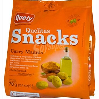 QUELY QUELITAS Snacks Curry madrás crackers Bolsa 70 g