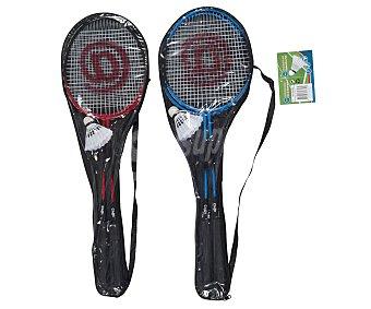 EDCO Set de badmington para 4 jugadores, compuesto por 4 raquetas y 2 volantes 1 unidad