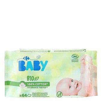 Carrefour Bio Toallitas para bebé sin perfume ecológicas 64 ud