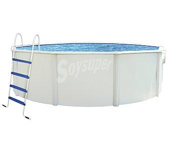 Mondial pool Piscina redonda reforzada con pared de acero lacado, escalera, depuradora de cartucho con capacidad de 3600 litros/hora, medidas de 460x120 centímetros y capacidad de 13777 litros 1 unidad
