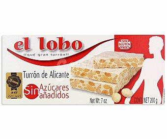 El Lobo Turrón duro sin azucares añadidos de Alicante 200 gramos