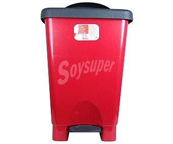 Auchan Cubo de basura con pedal rojo-negro 25 Litros 1 Unidad
