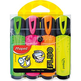 MAPED  fluorescentes peps en colores variados pack de 4