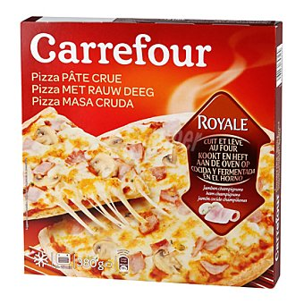 Carrefour Pizza masa cruda Royale jamón cocido y champiñones 380 g