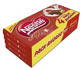Nestlé Chocolate con leche Pack de 4 tableta