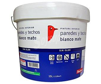 Auchan Pintura Plástica de Interior para Paredes y Techos Color Blanco Mate 15 Litros