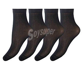 DIM Pack de 4 pares de tobilleros, 30 den, talla única, color negro.