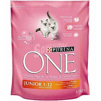 One Purina Alimento Junior especial para gatitos de 1 a 12 meses rico en pollo y cereales  paquete 1,5 kg