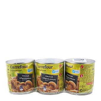 Carrefour Champiñones laminados bajos en sal Pack de 3x345 g