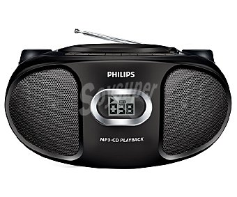 PHILIPS AZ305 Radio CD MP3 con lector de CD multiformato, sintonizador de radio am/fm, conexio auxiliar 3,5(mm), color negro