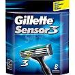 Recambio de maquinilla de afeitar estuche 8 unidades Estuche 8 unidades Gillette Sensor