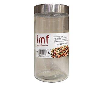 IMF Bote de cristal con tapa de acero inoxidable, 11x22 centímetros, 1,5 litro de capacidad 1 unidad