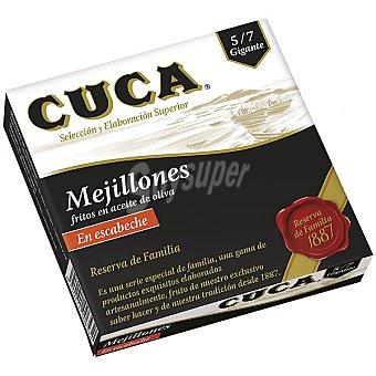 Cuca Mejillones Reserva de Familia fritos en aceite de oliva en escabeche 5/7 piezas Lata de 69 g neto escurrido