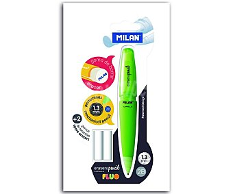 Milan Portaminas con grosor de escritura de 1.3 milímetros y dureza 2B + 2 recambios de goma de borrar MILAN.
