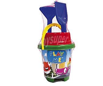 EURASPA Conjunto de juguetes de playa (pala, rastrillo, regadera...) y un cubo de 40x20 centímetros para transportalos y guardarlos con el diseño unos bonitos coches 1 unidad