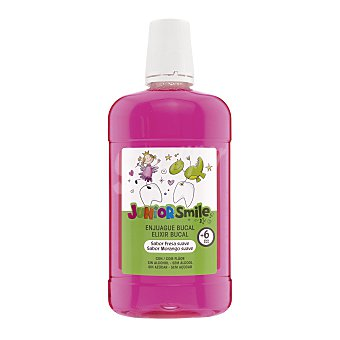 Junior smile Enjuague bucal sabor fresa sin alcohol +6 años Botella 500 ml