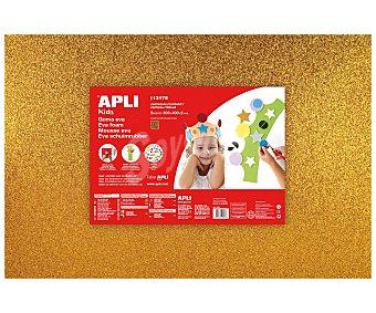 APLI Plancha de foam, goma eva de color oro con purpurina y dimensiones 400x600x2 milímetros 1 unidad