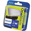 Recambio recortador de barba One Blade QP220/50 cuchillas extraíble recorta perfila y afeita estuche 2 unidades Philips
