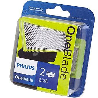 Philips Recambio recortador de barba One Blade QP220/50 cuchillas extraíble recorta perfila y afeita estuche 2 unidades