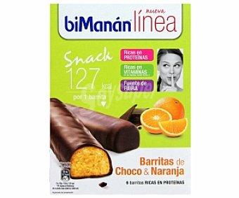 BIMANAN LINEA Barritas choco naranja 1 paquete de 186 g