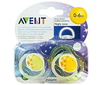 Philips SCF176/18 - Chupete nocturno que brilla en la oscuridad, , de 0 a 6 meses, niño, surtido: modelos y colores aleatorios Avent 2 unidades