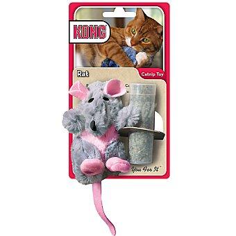 KONG Peluche para gato con forma de rata medida 16 cm incluye bote con catnip para rellenar 1 unidad