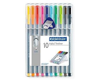 Staedtler Caja de 10 rotuladores con punta fina, grosor de trazado de 0,3 milímetros y de diferentes colores 1 unidad