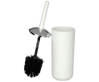 WENKO Escobilla y escobillero de plástico de altísima resistencia y acero inoxidable, de color blanco, con diseño elegante y formas redondeadas, serie Brasil 1 unidad