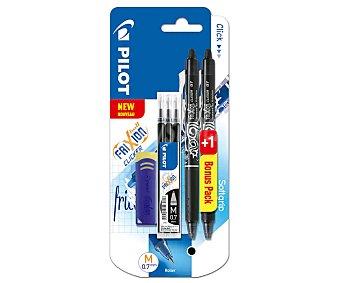 PILOT Frixion Bolígrafos retractiles borrables 0,7 mm color negro + set 3 recambios + borrador, pilot clicker Pack de 2