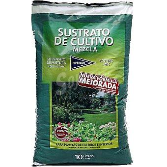 Hipercor Sustrato con fórmula mejorada para plantas de exterior e interior con Perlita 10 l 10 l