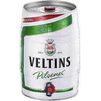 VELTINS Cerveza rubia importación pilsener alemana barril 5 l