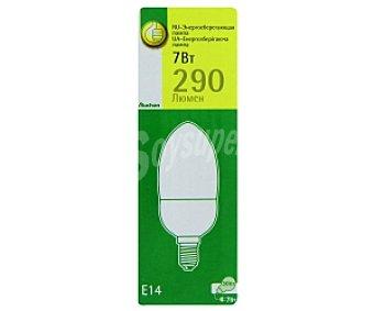 Productos Económicos Alcampo Bombilla de bajo consumo vela 7 Watios, con casquillo E14 (fino) y luz cálida 1 unidad
