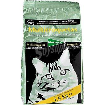 El Corte Inglés Multicroquetas para gatos con buey pollo cordero y verduras Paquete 1,5 kg