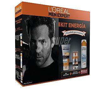 L'Oréal Estuche cuidado facial para hombre con un gel limpiador 150 ml, cuidado hidratante 50 ml + espuma de afeitar 200 ml 1 unidad