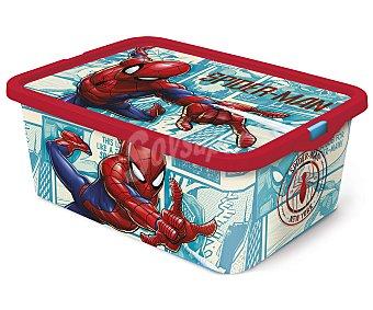 Spiderman Marvel Caja infantil para ordenación con diseño de Spiderman y tapa cierre click, 23 litros, disney. 23 litros