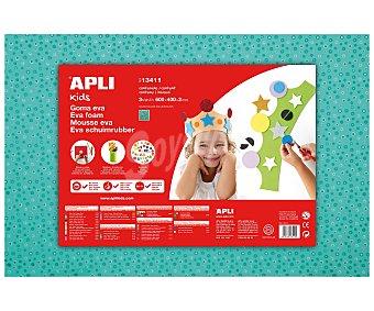 APLI Planchas de foam, goma eva con impresión de flores sobre un fondo azul turquesa y Dimensiones 400x600x2 milímetros 1 unidad