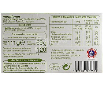 Auchan Mejillones medianos en escabeche con aceite de oliva Lata de 111 gramos
