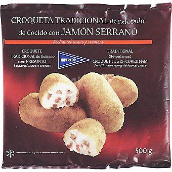 Hipercor Croqueta tradicional de estofado de cocido con jamón serrano bolsa 500 g Bolsa 500 g