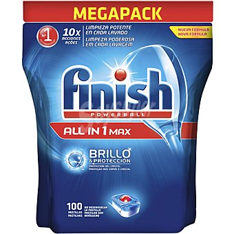 Finish Detergente lavavajillas Power Ball todo en 1 Max bolsa 100 pastillas brillo y protección del cristal Bolsa 100 pastillas