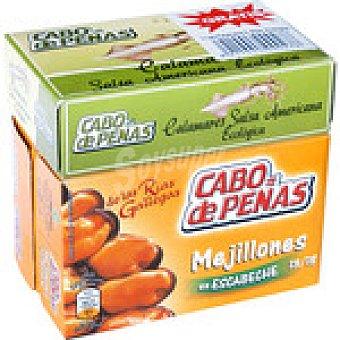 CABO DE PEÑAS Mejillones en escabeche de las rias gallegas 13-19 piezas + lata de calamares en salsa americana Envase 203 g neto escurrido (13 - 19 piezas) + 1 lata calamares