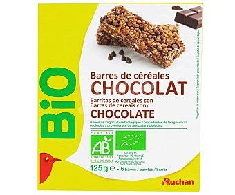 Auchan Cereales en barritas con chocolate, biológicas 125 g