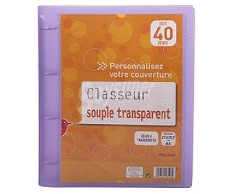 AUCHAN. (1,99€/UN Carpeta con tapas de polipropileno de color morado, de tamaño folio, con 4 anillas de 40 milímetros y lomo pesonalizable )