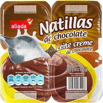 Aliada Natillas de chocolate Pack 4 unidades 125 g