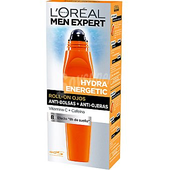 L'Oréal MEN EXPERT HYDRA ENERGETIC Roll-on para ojos anti-bolsas + anti-ojeras Dosificador 15 ml