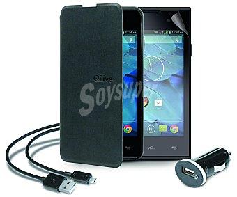 """Qilive Pack para Smartphone Qilive 4.0"""" Q.4514 Cargador de coche Usb, funda con tapa, protector de pantalla y cable Usb, (teléfono no incluido)"""