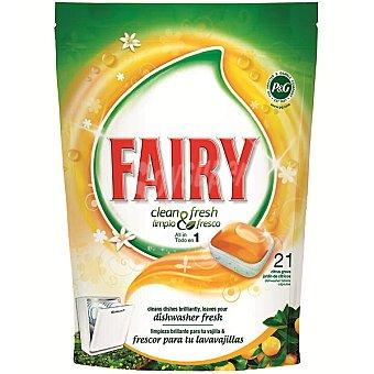 Fairy & fresco detergente lavavajillas Fresh Orange jardín de cítricos todo en 1 envase 21 pastillas