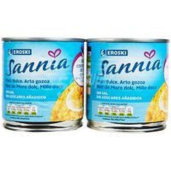 Eroski Sannia Maíz sin sal-sin azúcar añadido 2 latas de 140 g